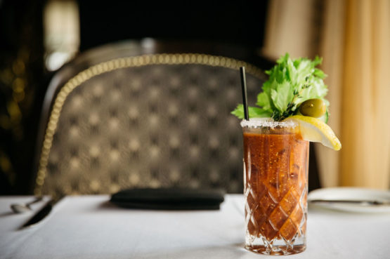 bloody mary on dining table at bridgeman's chattanooga steakhouse